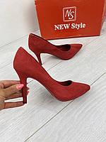 Туфли женские Seastar CH01 красные (весна-осень эко-замша )
