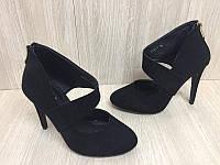 Туфли женские Vices 1030-19 черные (весна-осень эко-замш)