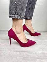 Туфли женские COMER EL1619 малиновые (весна-осень эко-замша )