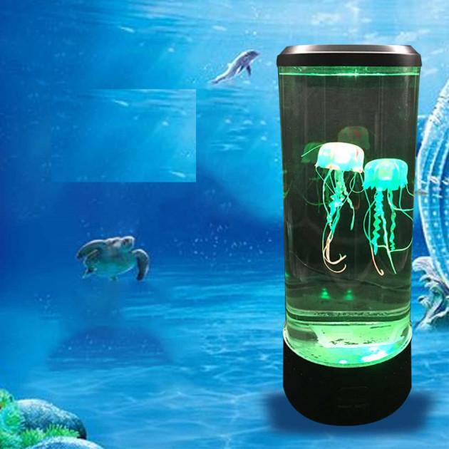 Ночник светодиодный светильник Аквариум с медузами 7 цветов от USB LED Jellyfish Mood Lamp черный