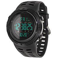 Спортивные часы SKMEI 1251 Black электронные мужские с влагозащищенным корпусом круглый дисплей нержавейка