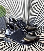 Стильные женские туфли из натуральной кожи черного цвета