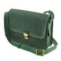 Кожаная женская бохо-сумка Лилу зеленая. Внутри - подарки