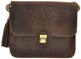 Кожаная женская бохо-сумка Лилу темно-коричневая. Внутри - подарки