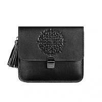 Кожаная женская бохо-сумка Лилу черная. Внутри - подарки