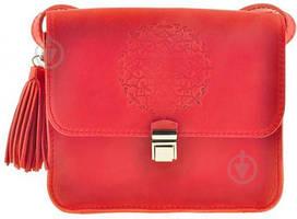 Кожаная женская бохо-сумка Лилу Коралловая. Внутри - подарки