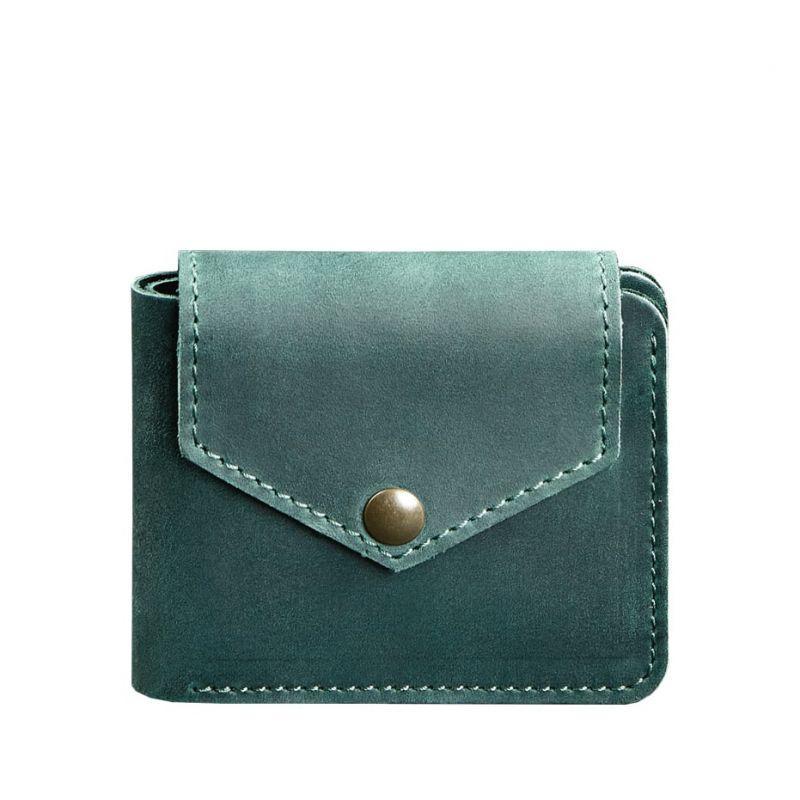 Шкіряне портмоне 4.2 на кнопці зелене