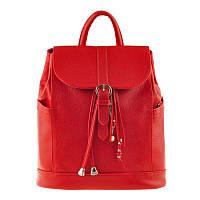 Шкіряний жіночий рюкзак Олсен червоний