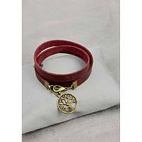 Жіночий шкіряний браслет -стрічка бордовий