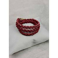Жіночий шкіряний браслет тонка кіска бордовий