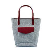 Фетровая женская сумка Шоппер D.D. с кожаными бордовыми вставками