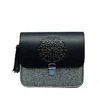 Фетровая женская бохо-сумка Лилу с кожаными черными вставками. Внутри - подарок