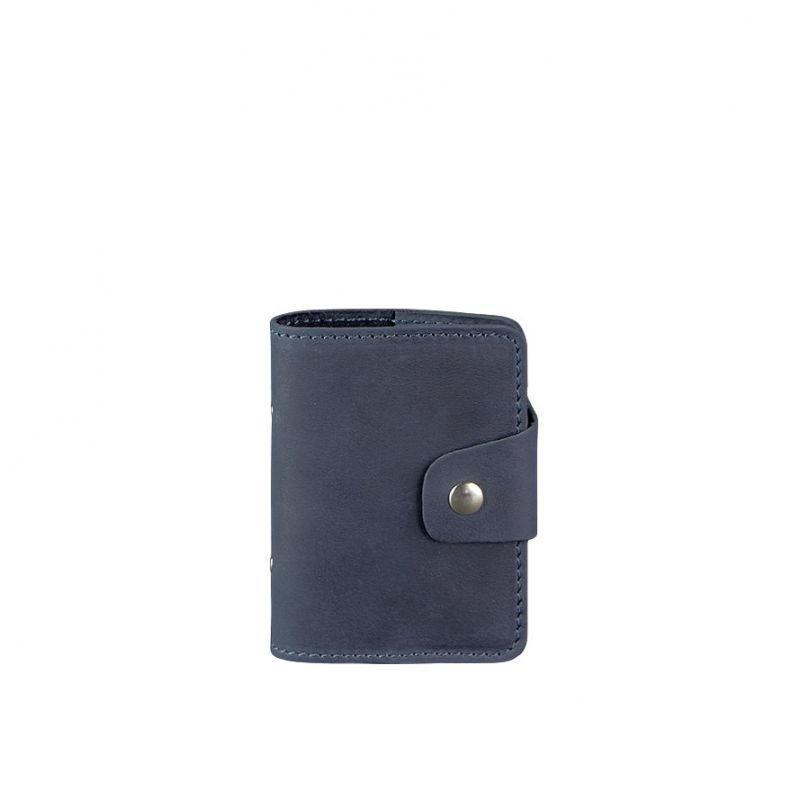 Кожаный кард-кейс 7.1 (Книжечка) синий