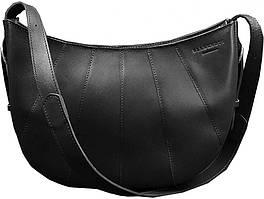 Кожаная женская сумка Круассан черная Krast. В подарок - холдеры для наушников и ключей, тетрадь