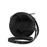Кожаная круглая женская сумка Бон-Бон Krast черная. Внутри - подарки