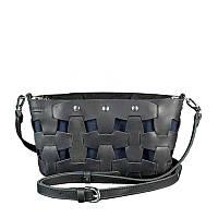 Кожаная плетеная женская сумка Пазл S черная Crazy Horse
