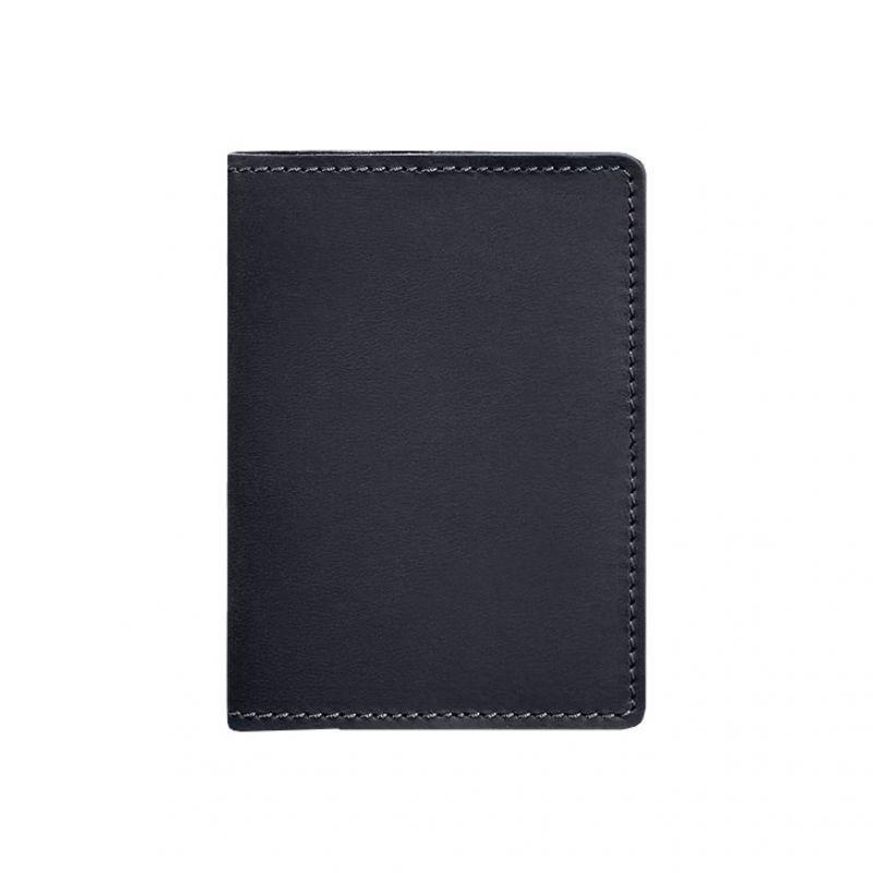 Кожаная обложка для паспорта 1.3 синяя Crazy Horse