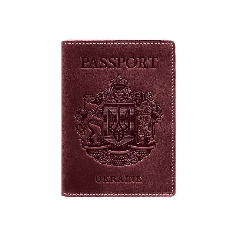 Шкіряна обкладинка для паспорта з українським гербом бордова