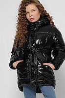 Лаковая зимняя куртка для девочки черная X-Woyz DT-8300-8