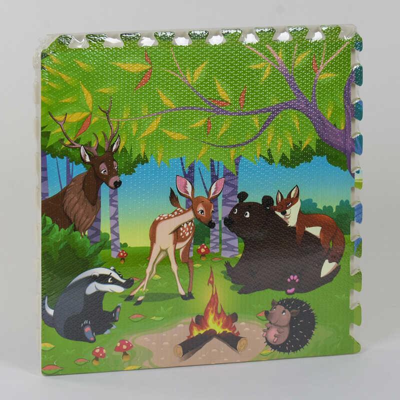 Детский развивающий коврик-пазл мозаика Сказочный лес, с массажным эффектом EVA С 36565 4 шт в упаковке