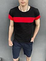 """Футболка """"Color Stripe"""" чорна - червоний + Шорти Miami сині Intruder. Комплект літній чоловічий"""
