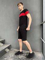 """Футболка """"Color Stripe"""" чорна - червона+ Шорти трикотажні чорні Intruder. Комплект літній чоловічий"""