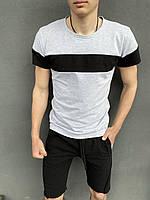 """Футболка """"Color Stripe"""" сіра - чорна + Шорти трикотажні чорні Intruder. Комплект літній чоловічий"""