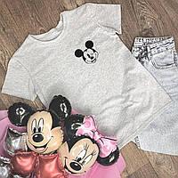 Футболка Женская хлопок серая с принтом Mickey Mouse микки маус