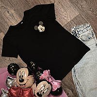 Футболка Жіноча бавовна чорна з принтом Mickey Mouse міккі маус