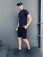 Футболка поло Мужская+ шорты трикотажные. ПОДАРОК!!! Костюм Intruder летний синий - черный.