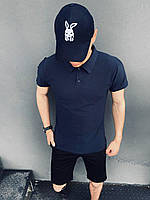 Футболка поло Мужская +Мужские шорты трикотажные+ Кепка. Костюм Intruder  летний синий-черный