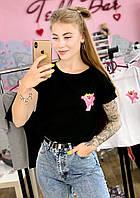 Футболка Жіноча бавовна чорна з принтом Рожева пантера