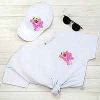 Футболка жіноча + кепка біла з принтом рожева пантера