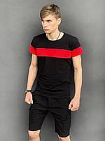 """Футболка """"Color Stripe"""" чорна - червона + Шорти Miami Чорні Intruder. Комплект літній чоловічий"""