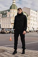 Чоловічий костюм Softshell чорний демісезонний Intruder. Куртка чоловіча, штани утеплені + Ключниця