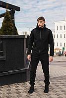 Чоловічий костюм чорний демісезонний Intruder. Куртка чоловіча чорна, штани утеплені. + Ключниця