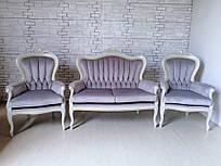 Диван на два места и два кресла в стиле барокко. Комплект мягкой мебели