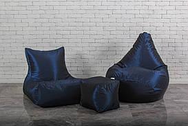 Набор бескаркасной мягкой мебели темно-синего цвета (кресло груша, диван, пуф)