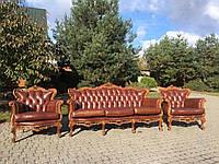 Комплект кожаной мебели барокко, диван и два кресла, б/у, фото 1