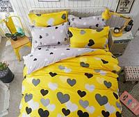 """Семейный набор постельного белья Бязь """"Gold"""",  расцветка как на фото ,сердечки на желтом и сером"""