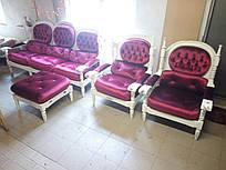 Комплект диван и кресла из Европы в готическом стиле, шебби-шик 3+1+1+пуфик