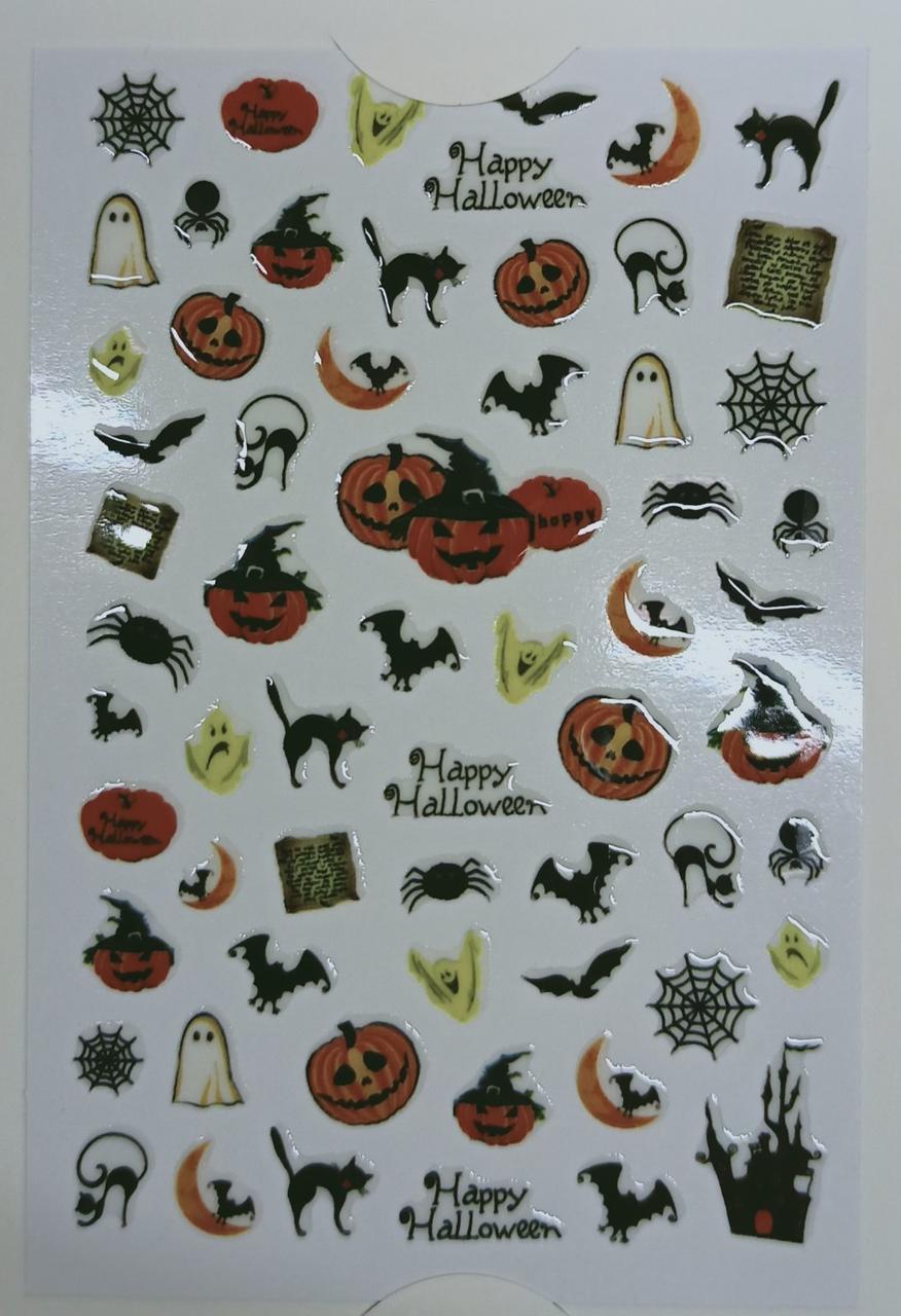 Наклейки для нігтів хеллоуїн гарбуз, летюча мишка, павутинка, кішка, привид - Слайдер-дизайн ХЕЛЛОУЇН
