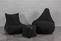 Набір безкаркасних м'яких меблів чорного кольору (крісло груша, диван, пуф)
