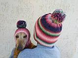 Набор женская шапка и шапка для собаки вязанные с помпоном, фото 4