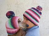 Набор женская шапка и шапка для собаки вязанные с помпоном, фото 5