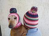 Набор женская шапка и шапка для собаки вязанные с помпоном, фото 8