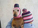 Набор женская шапка и шапка для собаки вязанные с помпоном, фото 7
