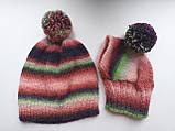 Набор женская шапка и шапка для собаки вязанные с помпоном, фото 10
