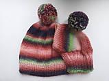 Набор женская шапка и шапка для собаки вязанные с помпоном, фото 9