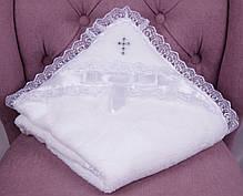 Набор для крещения Фрак белый, крыжма и комбинезон с шапочкой, фото 3